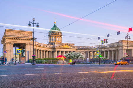 Cathedral of Our Lady of Kazan in St. Petersburg at twilight, Russia Editorial