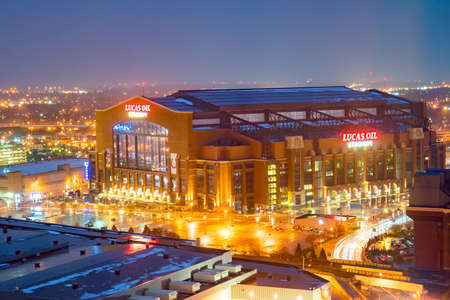 Indianapolis, Indiana, USA - MARCH 27, 2018: Lucas Oil Stadium at twilight. It is a home to Indianapolis Colts. Editorial