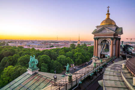 Old town St. Petersburg skyline from top view at sunset in Russia Stock Photo - 105180781