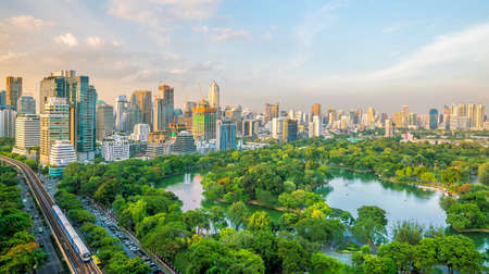 Downtown Bangkok city skyline with Lumpini park  from top view in Thailand 写真素材