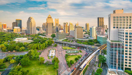 Downtown Bangkok city skyline with Lumpini park from top view in Thailand Reklamní fotografie