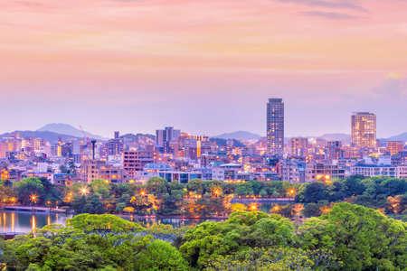 Fukuoka city skyline in Japan at sunset