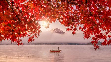 Colorful autumn season and Mountain Fuji with red leaves at lake Kawaguchiko in Japan Editorial