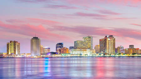 Downtown New Orleans, Louisiana and the Mississippi River at twilight in USA Stock Photo - 107474494