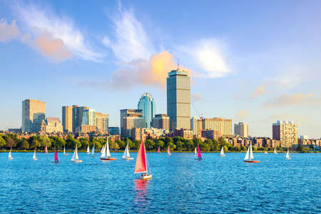 View of Boston Skyline in summer afternoon, USA Editorial