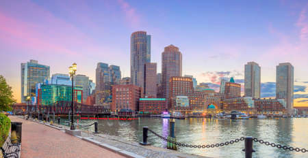 Boston Harbor and Financial District at twilight, Massachusetts in USA Editorial