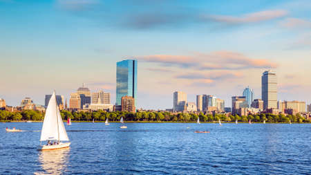 View of Boston Skyline in summer afternoon in USA