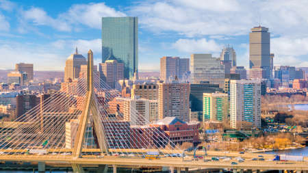 The skyline of Boston in Massachusetts, USA on a sunny day