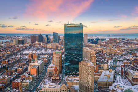The skyline of Boston in Massachusetts, USA at sunset