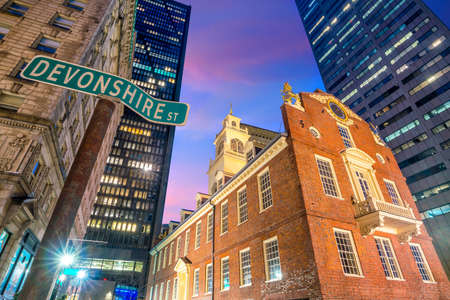 Old State House at twilight in Boston, Massachusetts, USA