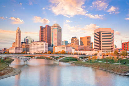 View of downtown Columbus Ohio Skyline at Sunset in USA Editorial
