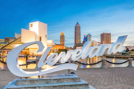 CLEVELAND, OH - OCTOBER 31: Downtown Cleveland skyline from the lakefront in Ohio USA on October 31, 2016 Editorial