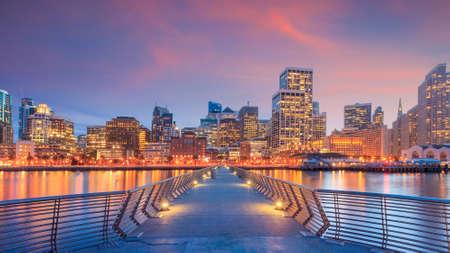 San Francisco view from Pier 14 at night.