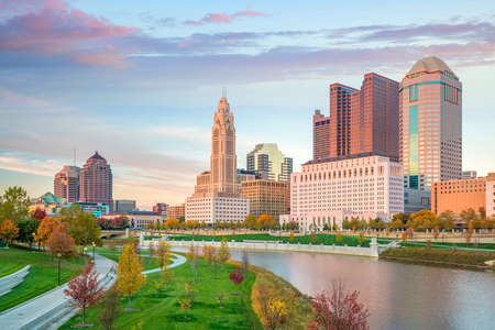 View of downtown Columbus Ohio Skyline at Sunset in USA Stock Photo