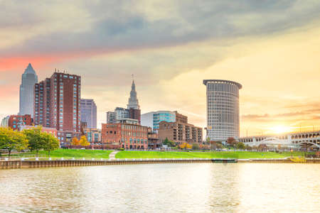 View of downtown Cleveland skyline in Ohio USA at sunset Stock Photo