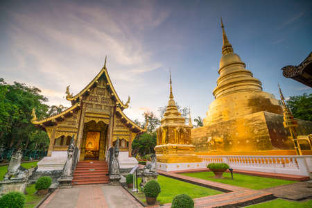 Wat Phra Singh temple in the old town center of Chiang Mai,Thailand Stock Photo
