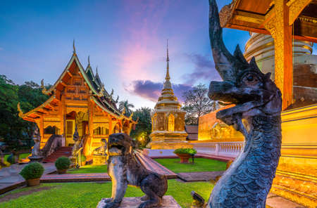Wat Phra Singh temple in the old town center of Chiang Mai,Thailand Editorial