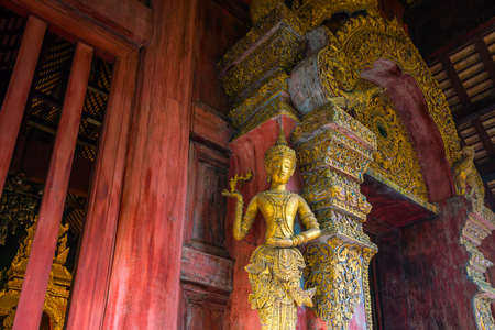 Art decoration in Wat Phra Singh temple in the old town center of Chiang Mai,Thailand