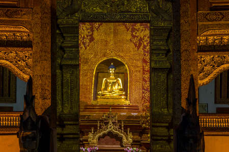 Phra Buddha Si Hing, Phra Singh statue. Wat Phra Singh temple in the old town center of Chiang Mai,Thailand Editorial