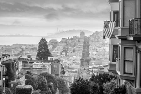 Famous Lombard Street in San Francisco at sunrise in USA