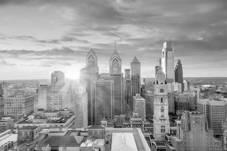 Top view of downtown skyline Philadelphia USA at sunset