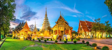 Panorama view of Wat Phra Singh temple in the old town center of Chiang Mai,Thailand Editorial
