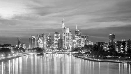 View of Frankfurt city skyline in Germany at sunset Reklamní fotografie
