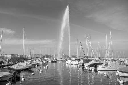 Beautiful view of the water jet fountain in the lake of Geneva, Switzerland