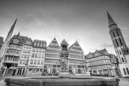 Frankfurt Old town square romerberg at twilight in Germany.