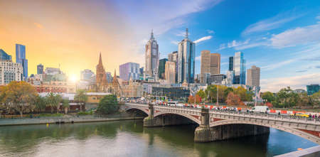 Panorama view of Melbourne city skyline at twilight in Australia Stockfoto
