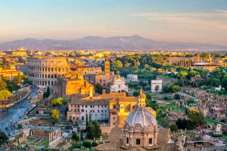 View of Rome city center at sunset in Italy