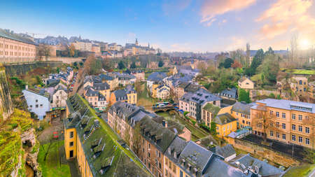 Skyline of old town Luxembourg City from top view  in Luxembourg Stock Photo