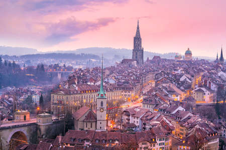Old Town of Bern, capital of Switzerland in Europe at twilight Banque d'images