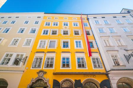 Salzburg, Austria - August 12, 2018: Mozarts birthplace which was the birthplace of Wolfgang Amadeus Mozart at No. 9 Getreidegasse in Salzburg, Austria