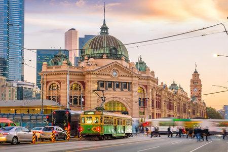 Melbourne Flinders Street Train Station in Australia at sunset
