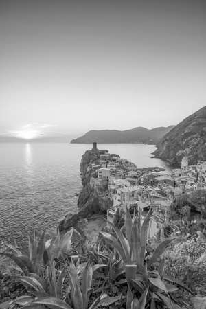 View of Vernazza at sunset. One of five famous colorful villages of Cinque Terre National Park in Italy