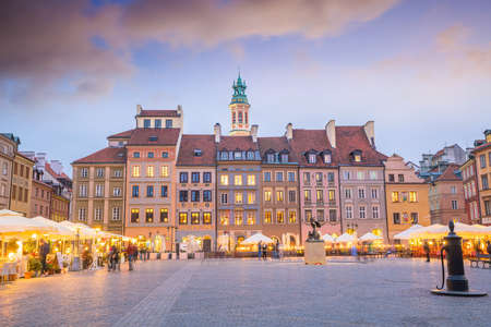 Old town square in Warsaw, Poland at sunset