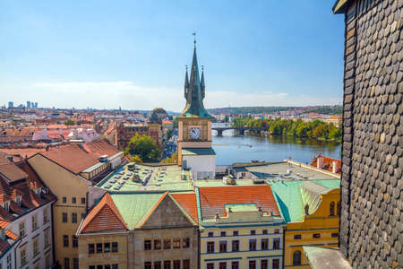 Famous iconic image of  Prague city skyline in Czech Republic from top view Stock Photo