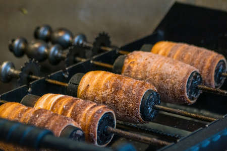 Traditional czech Trdelnik in Prague, Czech Republic