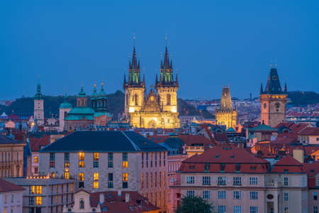 Old Town square with Tyn Church in Prague, Czech Republic at sunset Stock Photo
