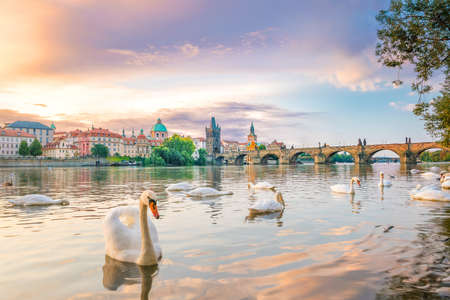 Famous iconic image of Charles bridge and Prague city skyline in Czech Republic