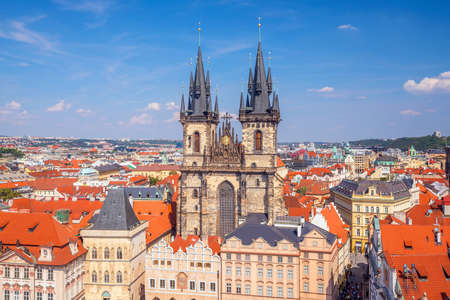Old Town square with Tyn Church in Prague, Czech Republic Stock Photo