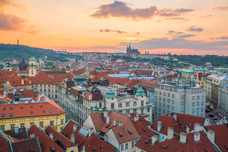 Famous iconic image of  Prague city skyline in Czech Republic