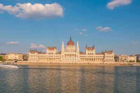 Parliament building over delta of Danube river in Budapest, Hungary