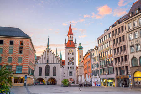 Old Town Hall at Marienplatz Square in Munich, Germany Stock Photo