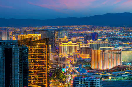 cityscape of Las Vegas from top view in Nevada, USA at sunset