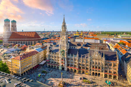 Munich skyline with  Marienplatz town hall in Germany Stock Photo