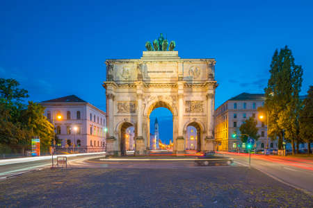 Siegestor (Victory Gate) triumphal arch in Munich, Germany at night