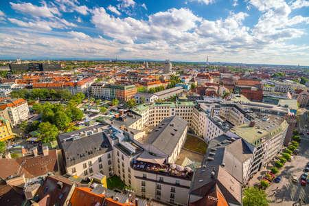 Munich historical center panoramic aerial cityscape view in Germany