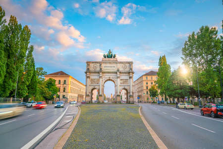 Siegestor (Victory Gate) triumphal arch in Munich, Germany